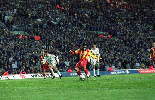 Gheorge Hagi of Galatasaray scores a penalty