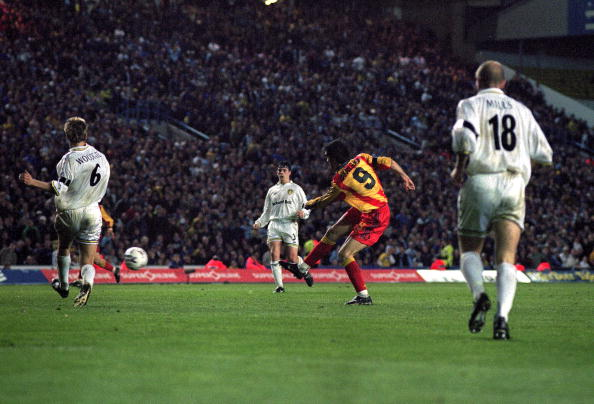 Hakan Suker of Galatasaray scores their second goal on the night